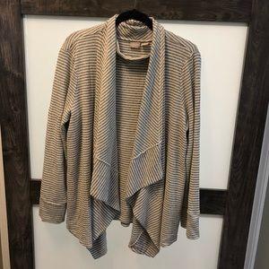 Chico's Size 3 grey&white draped cardigan w/ tank